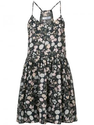Летнее платье с цветочным притом Anine Bing. Цвет: чёрный