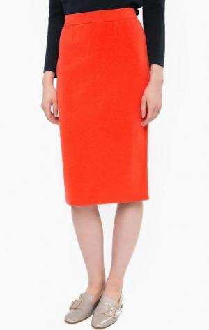 Оранжевая юбка-карандаш на резинке Stefanel. Цвет: оранжевый