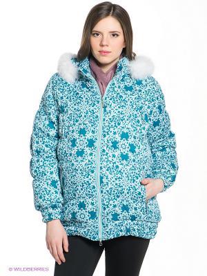 Куртка EUROMAMA. Цвет: бирюзовый, белый