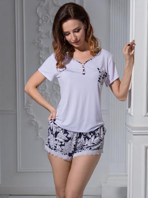 Пижама MIA-MELLA. Цвет: темно-синий, белый