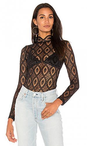 Прозрачная блуза merletto Nightcap. Цвет: черный