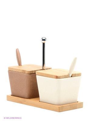 Набор для специй сервировочный из бамбука, 2 предмета Frybest. Цвет: коричневый, молочный