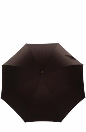 Зонт-трость с ручкой из плетеной кожи Pasotti Ombrelli. Цвет: темно-коричневый