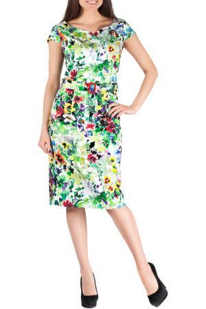 Платье Mannon. Цвет: бело-зеленый