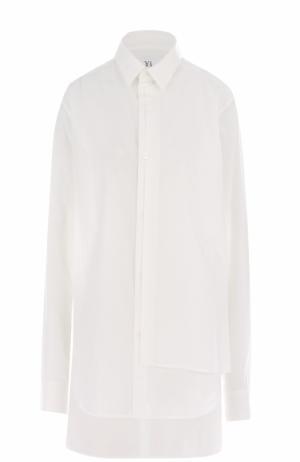 Удлиненная хлопковая блуза свободного кроя Yohji Yamamoto. Цвет: белый