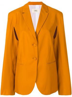 Приталенный строгий пиджак Ports 1961. Цвет: жёлтый и оранжевый
