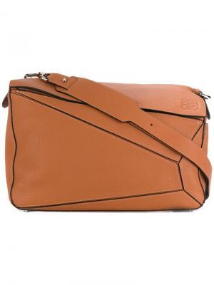Большая сумка на плечо Puzzle Loewe. Цвет: коричневый