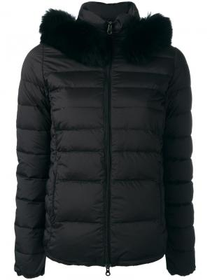 Куртка-пуховик с меховой оторочкой Duvetica. Цвет: чёрный