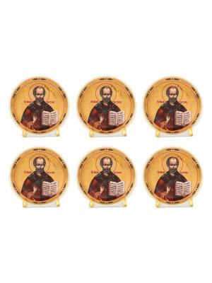 Набор из 6-ти декоративных тарелок Николай Чудотворец Elan Gallery. Цвет: золотистый, черный