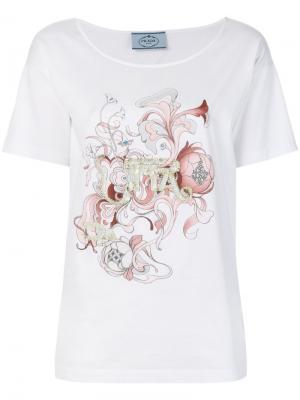 Декориорванная футболка Prada. Цвет: белый