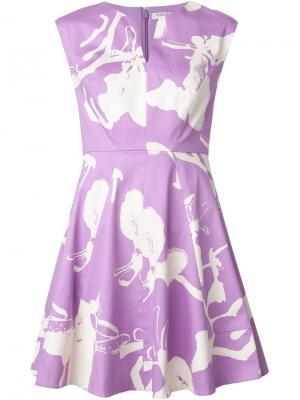 Расклешенное платье с цветочным принтом Halston Heritage. Цвет: розовый и фиолетовый