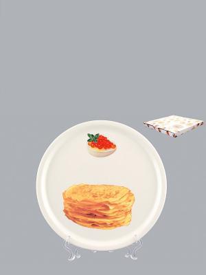 Тарелка для блинов Блины Elan Gallery. Цвет: белый, оранжевый, желтый