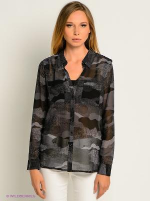 Блузка MEXX. Цвет: темно-серый, черный