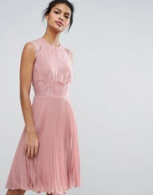 Elise Ryan Плиссированное платье миди. Цвет: розовый