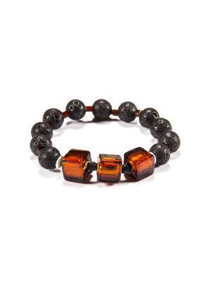 Браслет Flex Cubo, лава, янтарный Bottega Murano. Цвет: черный, коричневый