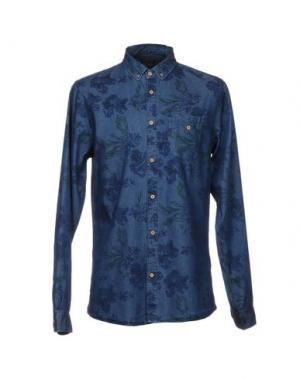 Джинсовая рубашка !SOLID. Цвет: синий