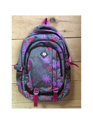 Рюкзак спортивный, цвет серый с яркими кляксами, Grey18213, All About Me Gaoba. Цвет: серый, темно-фиолетовый, розовый