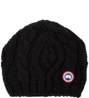 Шерстяная шапка с косами Canada Goose. Цвет: черный