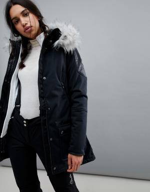 Spyder Горнолыжная куртка с искусственным мехом Helix. Цвет: черный