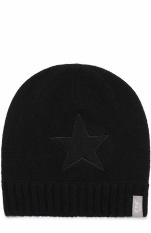 Кашемировая шапка с аппликацией FTC. Цвет: черный