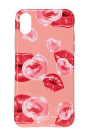 Розовый чехол для iPhone X Marc Jacobs. Цвет: розовый