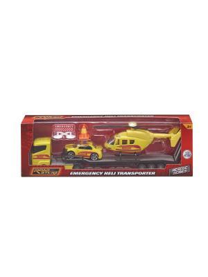 Игровой набор Перевозчик со спасательными машиной и вертолетом, 1:64 HTI. Цвет: желтый