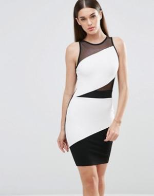 Sistaglam Облегающее платье в стиле колор блок с сеточкой. Цвет: черный