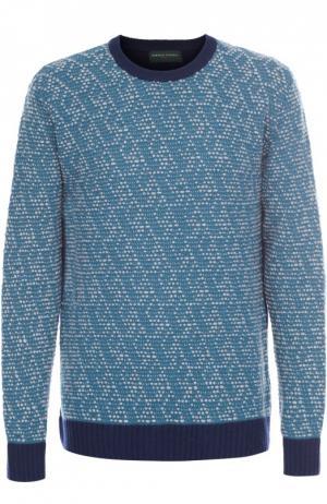Шерстяной свитер фактурной вязки с контрастной отделкой Daniele Fiesoli. Цвет: голубой
