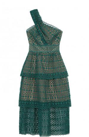 Кружевное многоярусное платье-миди асимметричного кроя self-portrait. Цвет: зеленый