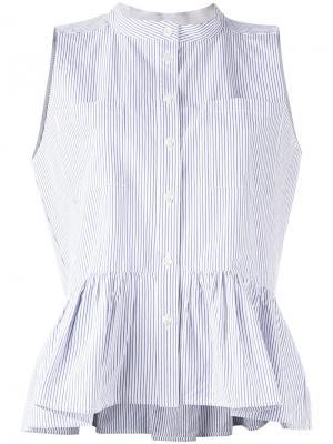 Блузка в полоску с оборкой Sea. Цвет: синий