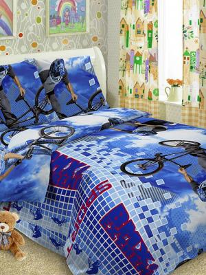 Детский комплект постельного, 1,5-спальный, наволочка 50*70, хлопок Letto. Цвет: синий