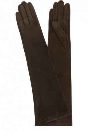 Удлиненные замшевые перчатки Sermoneta Gloves. Цвет: темно-коричневый