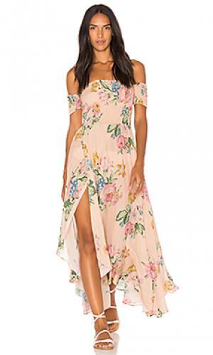 Макси платье boheme goddess AUGUSTE. Цвет: розовый