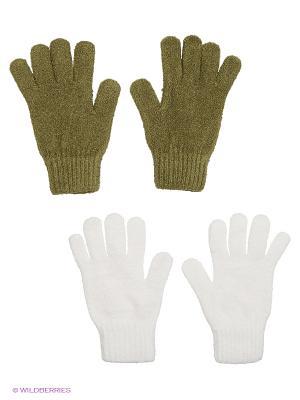Перчатки - 2 пары FOMAS. Цвет: белый, темно-зеленый