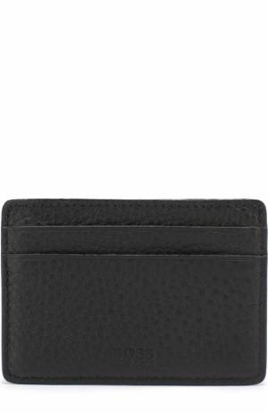 Кожаный футляр для кредитный карт BOSS. Цвет: черный