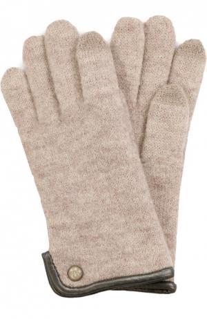 Вязаные шерстяные перчатки Roeckl. Цвет: бежевый