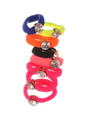 Резинки для волос детские со стразиком разноцветные, набор 2 шт по 4 Радужки. Цвет: синий, зеленый, красный