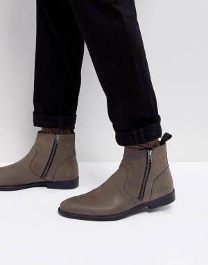ASOS Серые кожаные ботинки челси. Цвет: серый