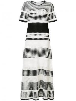 Расклешенное платье-миди в полоску Novis. Цвет: чёрный