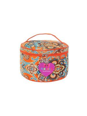 Косметичка Оранжево-голубая с узором EL CASA. Цвет: оранжевый, коричневый, голубой