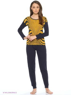 Пижама NICOLETTA. Цвет: темно-синий, горчичный
