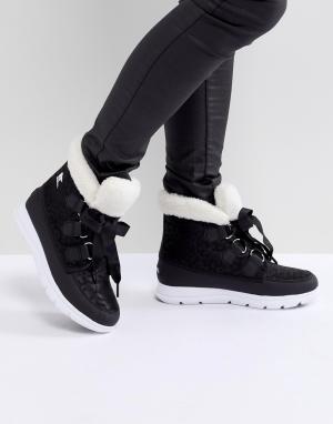 Sorel Черные водонепроницаемые ботинки на плоской подошве. Цвет: черный