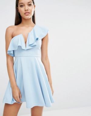 Rare Приталенное платье London. Цвет: синий