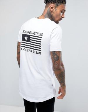 Good For Nothing Белая футболка с принтом на спине. Цвет: белый