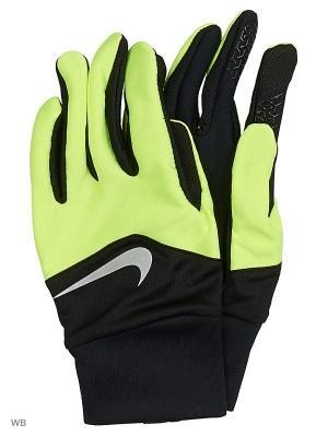 Мужские перчатки для бега Nike. Цвет: черный, желтый, серебристый