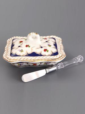 Паштетница Цветочек с ножиком Elan Gallery. Цвет: белый, синий, зеленый, красный