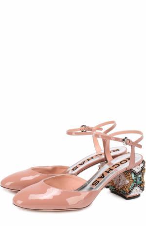 Лаковые туфли на декорированном каблуке Rochas. Цвет: розовый