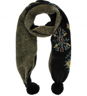 Двусторонний шарф с помпонами Scotch&Soda. Цвет: черный