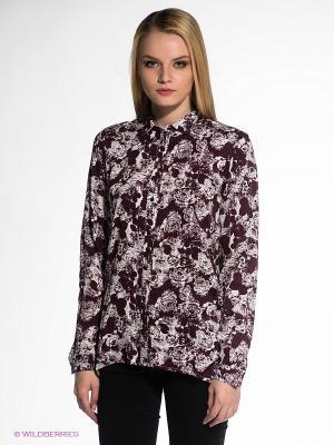 Блузка OBJECT. Цвет: сливовый, белый
