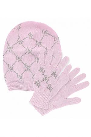 Комплект: шапка, перчатки Blugirl. Цвет: розовый
